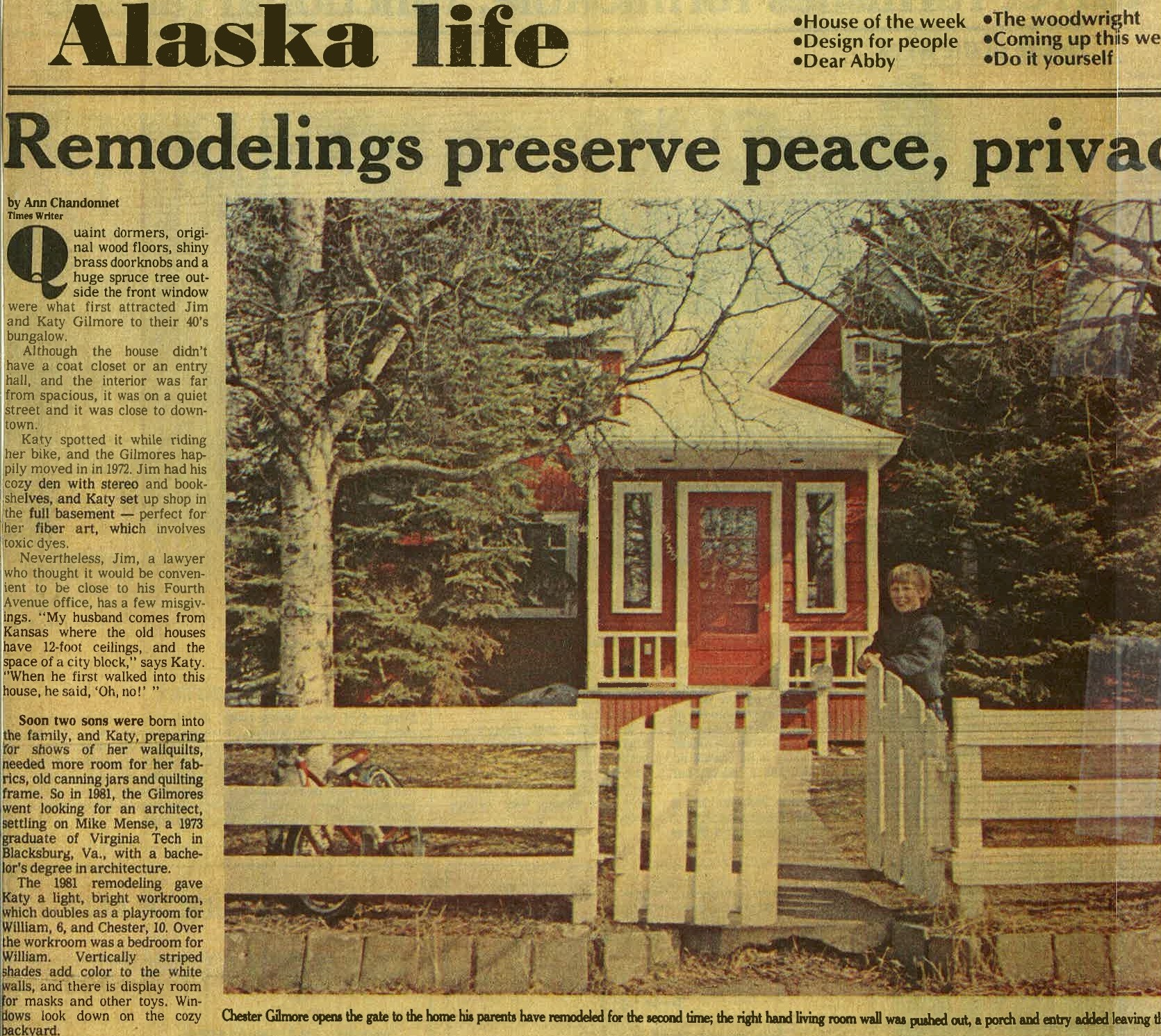 A newspaper article about the major remodel done in 1983.  Look at that cutie holding open the gate.