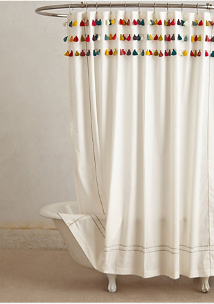Marvelous Lindi Fringe Shower Curtain