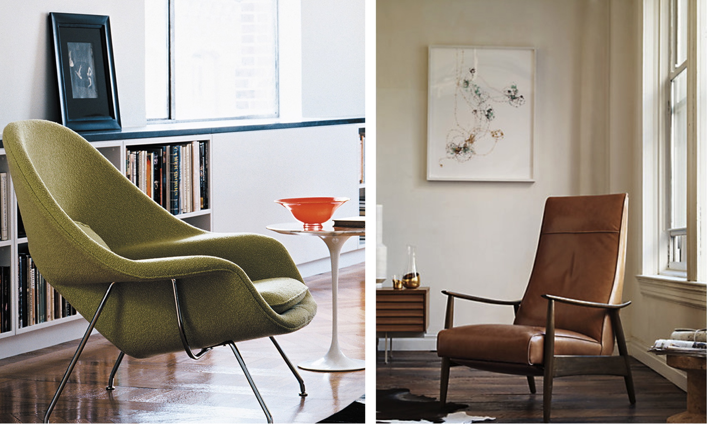 The Saarinen Womb Chair (left) and the Milo Baughman Recliner (right)