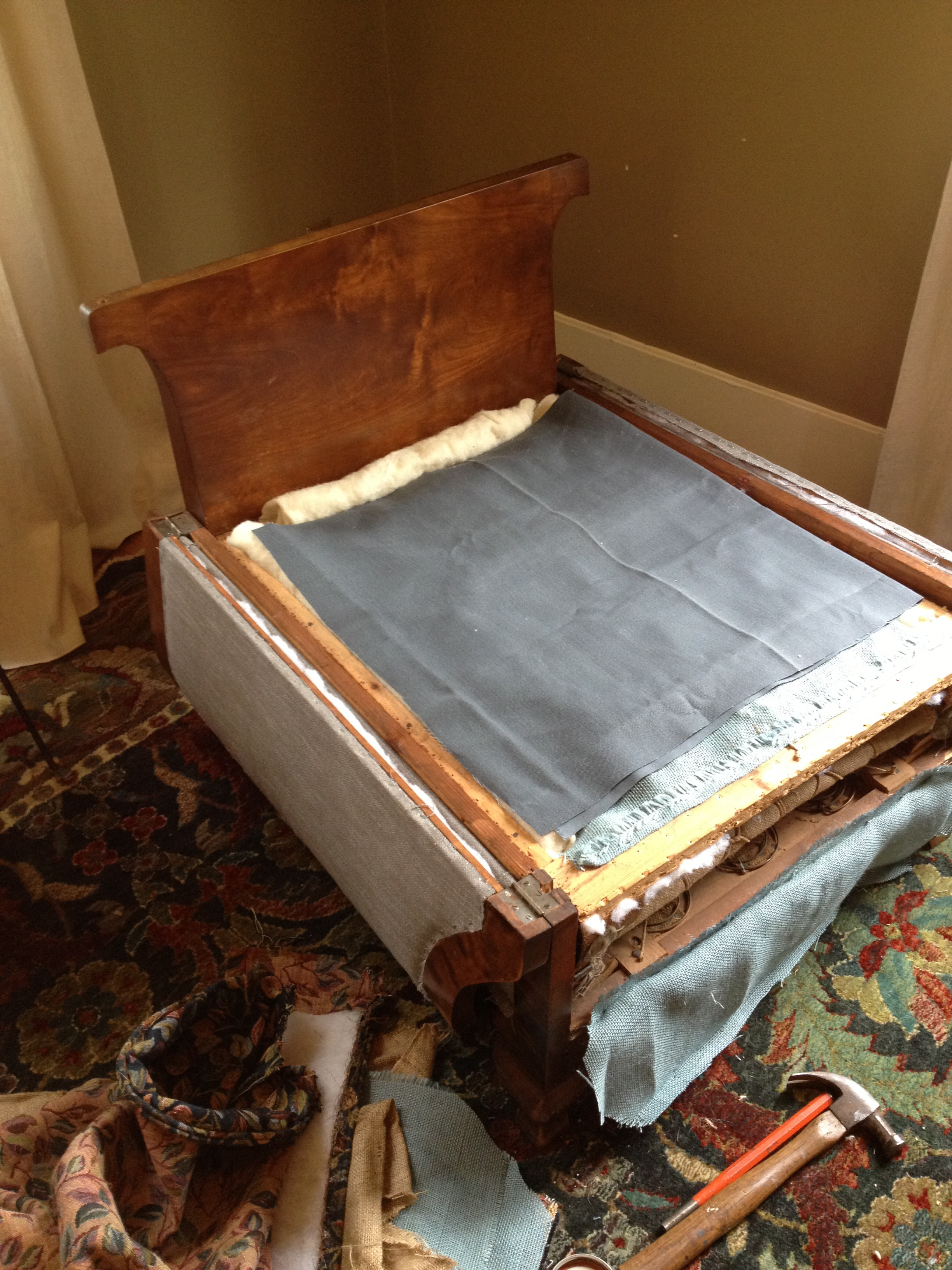 bed chair during reupholstery