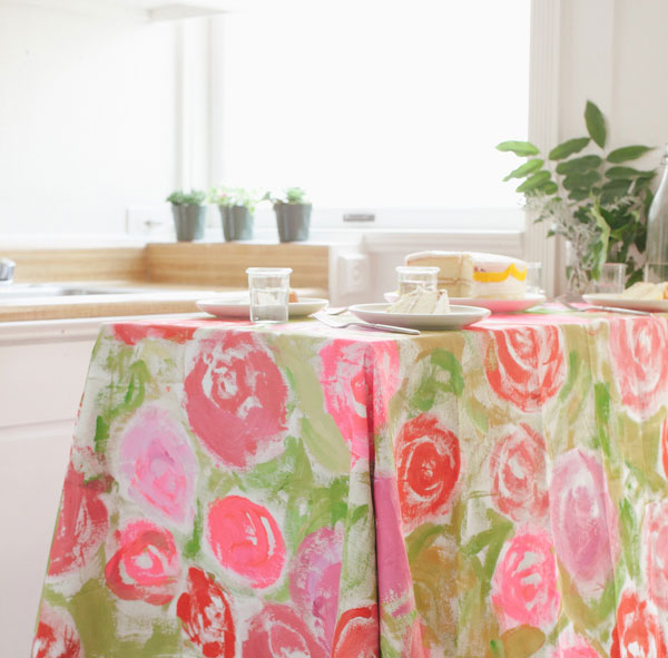 Painted Floral Tablecloth from Oh Happy Day