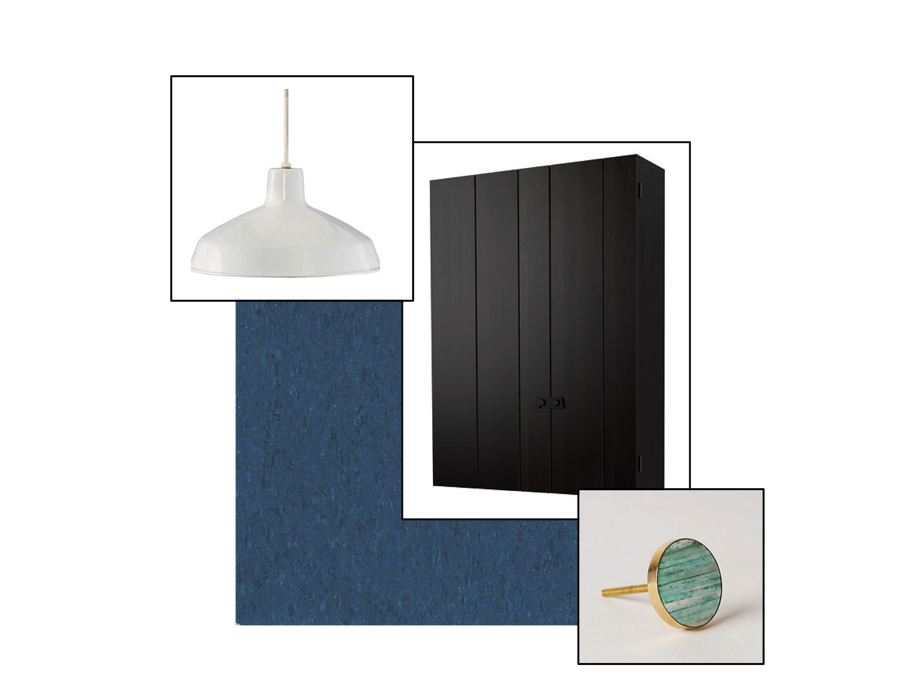 Clockwise from top left: White pendant light; IKEA cupboard; green and gold knobs; VCT tiles in Gentian Blue