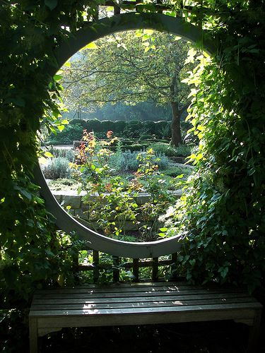 circular window in pergola