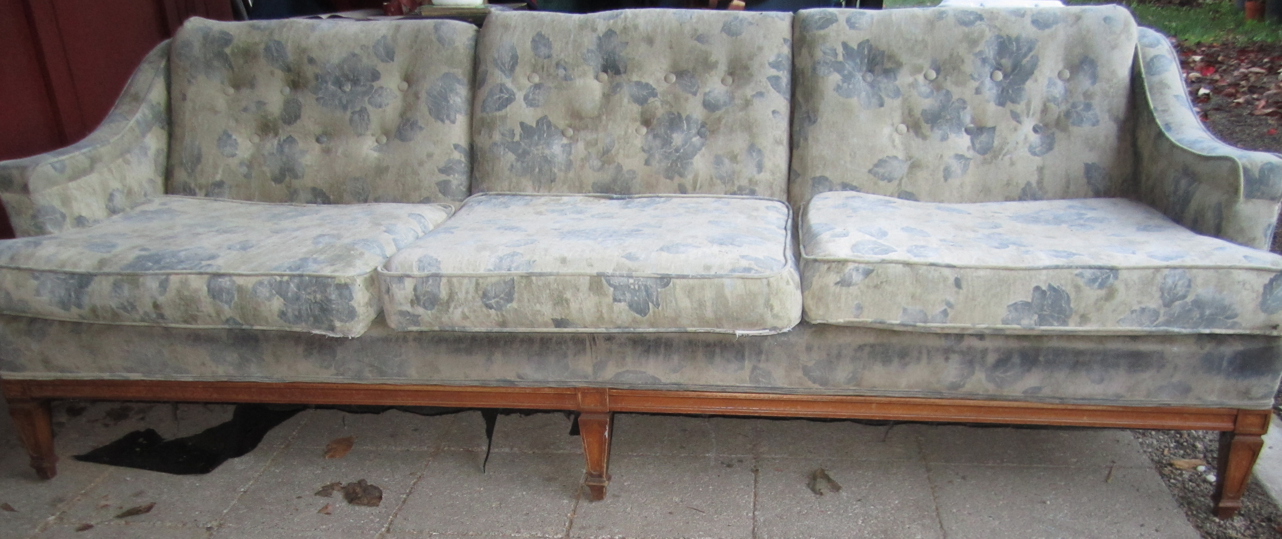 Blue flowered couch