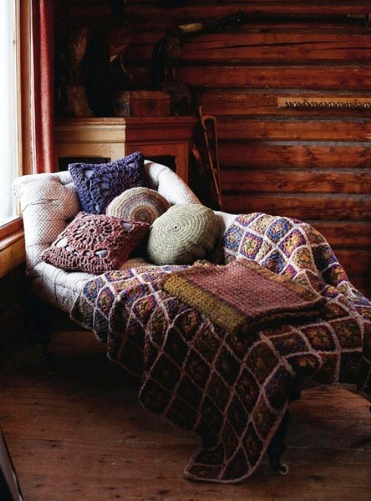chaise with cozy textiles
