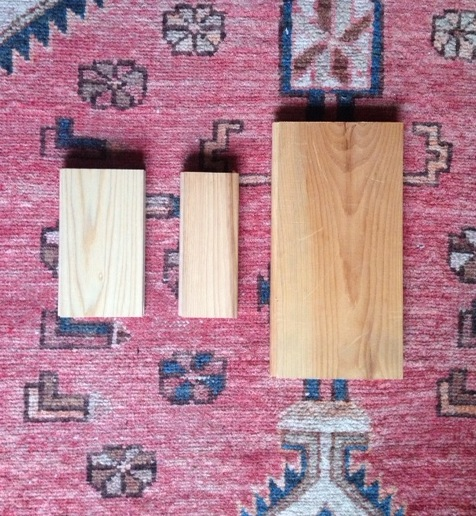 Samples of ash, hickory, and pine