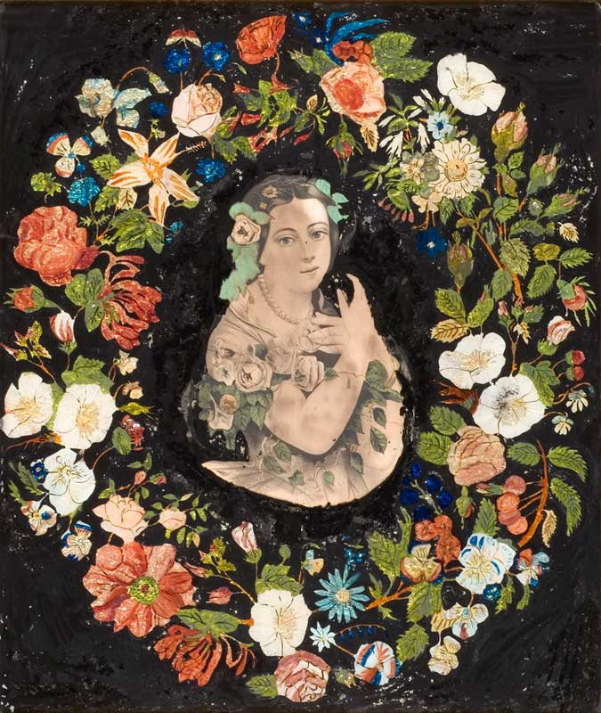 A lithograph of Jenny Lind with tinsel painting from the American Folk Art Museum.