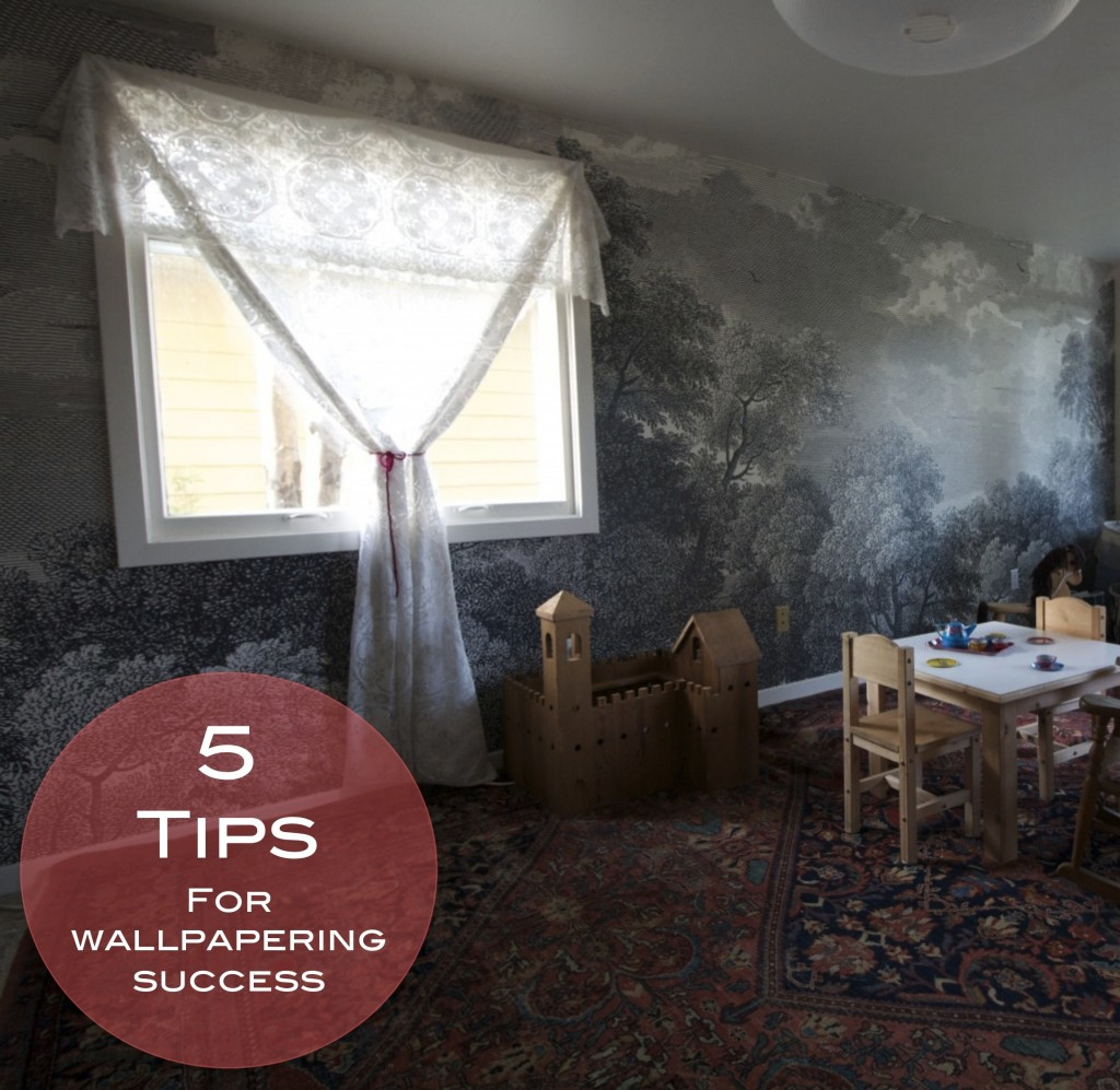 Five tips for wallpapering success red house west for Anthropologie etched arcadia mural